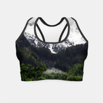 Thumbnail image of Fog rolling through forest below mountains Crop Top, Live Heroes