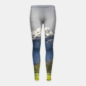Miniatur Green field with snowy alps Girl's leggings, Live Heroes