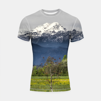 Miniatur Green field with snowy alps Shortsleeve rashguard, Live Heroes