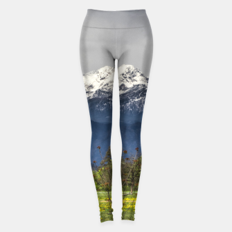 Miniatur Green field with snowy alps Leggings, Live Heroes