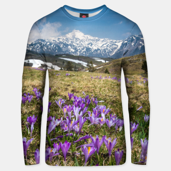 Thumbnail image of Mountains and crocus flowers on Velika Planina, Slovenia Unisex sweater, Live Heroes