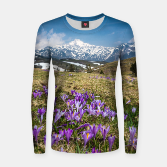 Thumbnail image of Mountains and crocus flowers on Velika Planina, Slovenia Women sweater, Live Heroes