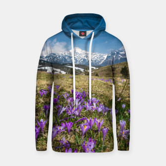 Thumbnail image of Mountains and crocus flowers on Velika Planina, Slovenia Hoodie, Live Heroes