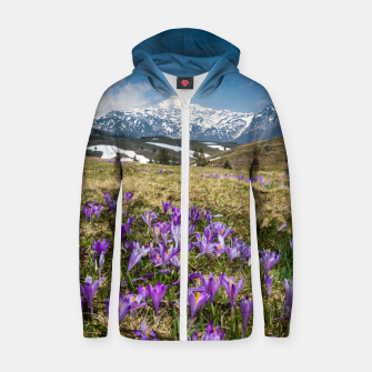 Thumbnail image of Mountains and crocus flowers on Velika Planina, Slovenia Zip up hoodie, Live Heroes