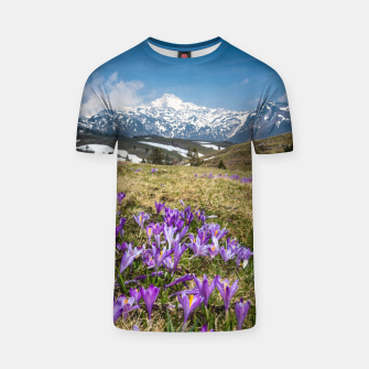 Thumbnail image of Mountains and crocus flowers on Velika Planina, Slovenia T-shirt, Live Heroes