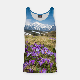 Thumbnail image of Mountains and crocus flowers on Velika Planina, Slovenia Tank Top, Live Heroes