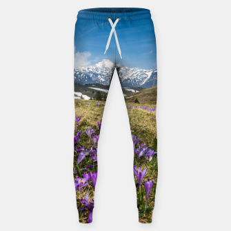 Thumbnail image of Mountains and crocus flowers on Velika Planina, Slovenia Sweatpants, Live Heroes