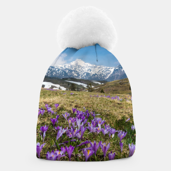 Thumbnail image of Mountains and crocus flowers on Velika Planina, Slovenia Beanie, Live Heroes