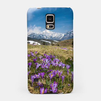 Thumbnail image of Mountains and crocus flowers on Velika Planina, Slovenia Samsung Case, Live Heroes