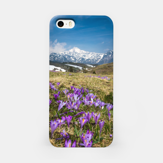 Thumbnail image of Mountains and crocus flowers on Velika Planina, Slovenia iPhone Case, Live Heroes