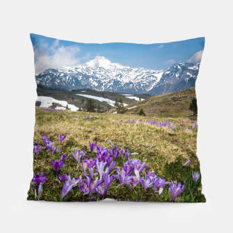 Thumbnail image of Mountains and crocus flowers on Velika Planina, Slovenia Pillow, Live Heroes