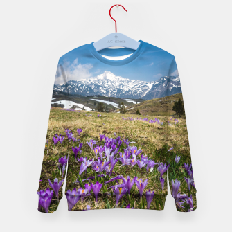 Thumbnail image of Mountains and crocus flowers on Velika Planina, Slovenia Kid's sweater, Live Heroes