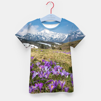 Thumbnail image of Mountains and crocus flowers on Velika Planina, Slovenia Kid's t-shirt, Live Heroes