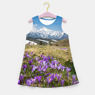 Thumbnail image of Mountains and crocus flowers on Velika Planina, Slovenia Girl's summer dress, Live Heroes