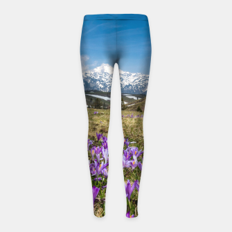 Thumbnail image of Mountains and crocus flowers on Velika Planina, Slovenia Girl's leggings, Live Heroes