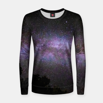 Miniatur Milky way with trees silhouette Women sweater, Live Heroes