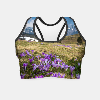 Thumbnail image of Mountains and crocus flowers on Velika Planina, Slovenia Crop Top, Live Heroes