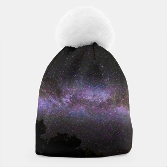 Miniatur Milky way with trees silhouette Beanie, Live Heroes