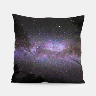 Miniatur Milky way with trees silhouette Pillow, Live Heroes