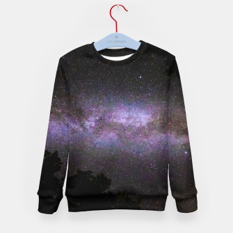 Miniatur Milky way with trees silhouette Kid's sweater, Live Heroes