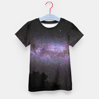 Miniatur Milky way with trees silhouette Kid's t-shirt, Live Heroes