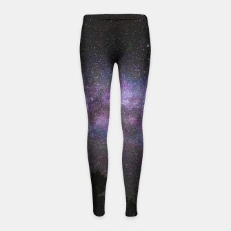 Miniatur Milky way with trees silhouette Girl's leggings, Live Heroes