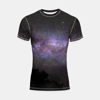 Miniatur Milky way with trees silhouette Shortsleeve rashguard, Live Heroes