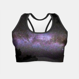Miniatur Milky way with trees silhouette Crop Top, Live Heroes