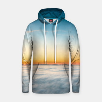 Thumbnail image of Magical sunrise above clouds Hoodie, Live Heroes