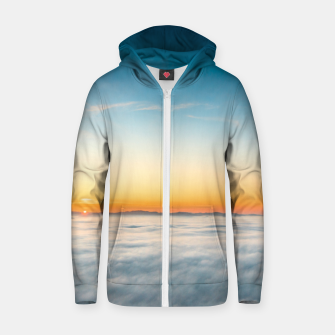Thumbnail image of Magical sunrise above clouds Zip up hoodie, Live Heroes