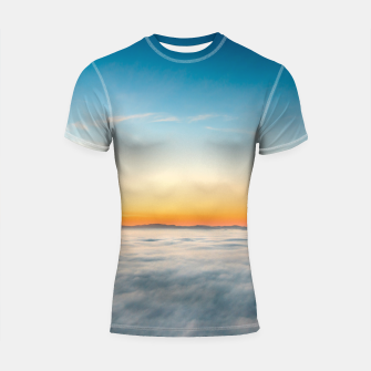 Thumbnail image of Magical sunrise above clouds Shortsleeve rashguard, Live Heroes