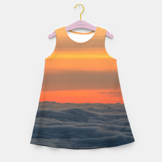 Miniatur Magical sunset above the clouds Girl's summer dress, Live Heroes
