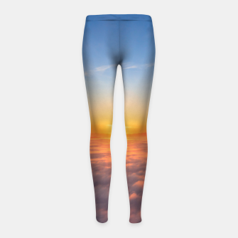 Thumbnail image of Sun peaking above clouds in the morning Girl's leggings, Live Heroes