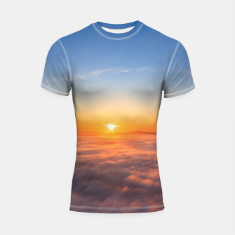 Thumbnail image of Sun peaking above clouds in the morning Shortsleeve rashguard, Live Heroes