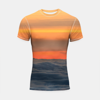 Thumbnail image of Magical sunset above the clouds Shortsleeve rashguard, Live Heroes
