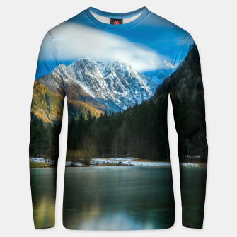 Thumbnail image of Beautiful lake with mountains in background in Zgornje Jezersko Unisex sweater, Live Heroes