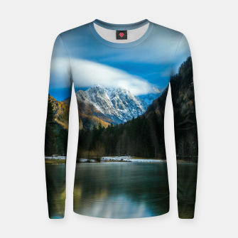 Thumbnail image of Beautiful lake with mountains in background in Zgornje Jezersko Women sweater, Live Heroes