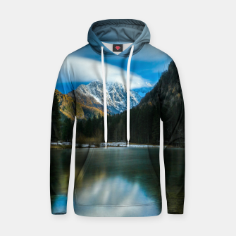 Thumbnail image of Beautiful lake with mountains in background in Zgornje Jezersko Hoodie, Live Heroes