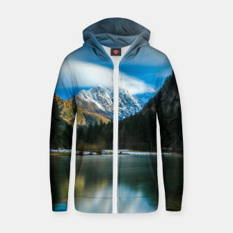 Thumbnail image of Beautiful lake with mountains in background in Zgornje Jezersko Zip up hoodie, Live Heroes