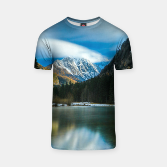 Thumbnail image of Beautiful lake with mountains in background in Zgornje Jezersko T-shirt, Live Heroes