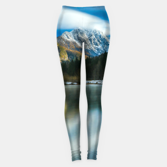 Thumbnail image of Beautiful lake with mountains in background in Zgornje Jezersko Leggings, Live Heroes
