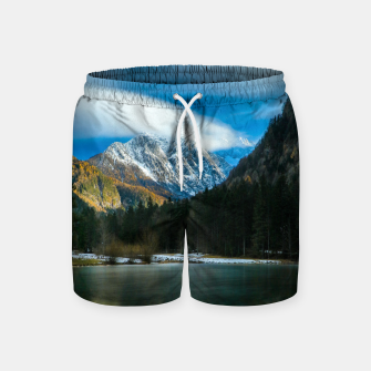 Thumbnail image of Beautiful lake with mountains in background in Zgornje Jezersko Swim Shorts, Live Heroes
