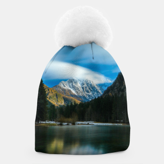 Thumbnail image of Beautiful lake with mountains in background in Zgornje Jezersko Beanie, Live Heroes