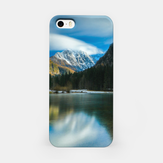 Thumbnail image of Beautiful lake with mountains in background in Zgornje Jezersko iPhone Case, Live Heroes