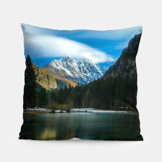Thumbnail image of Beautiful lake with mountains in background in Zgornje Jezersko Pillow, Live Heroes