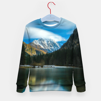 Thumbnail image of Beautiful lake with mountains in background in Zgornje Jezersko Kid's sweater, Live Heroes