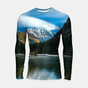Thumbnail image of Beautiful lake with mountains in background in Zgornje Jezersko Longsleeve rashguard , Live Heroes