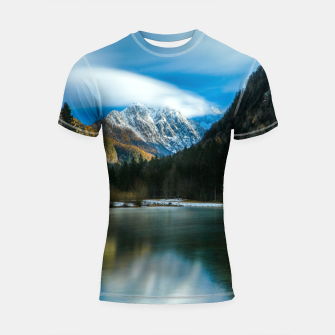 Thumbnail image of Beautiful lake with mountains in background in Zgornje Jezersko Shortsleeve rashguard, Live Heroes