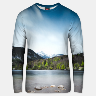 Miniatur Lake Bohinj with Alps in Slovenia Unisex sweater, Live Heroes