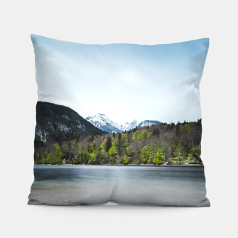 Miniatur Lake Bohinj with Alps in Slovenia Pillow, Live Heroes